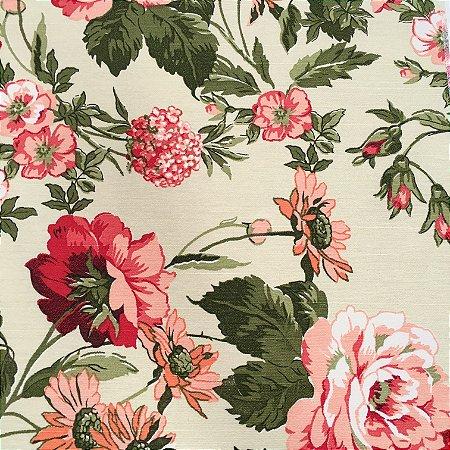 Tecido Linho Impermeabilizado Floral Verde, Salmão e Vermelho - Mace 56