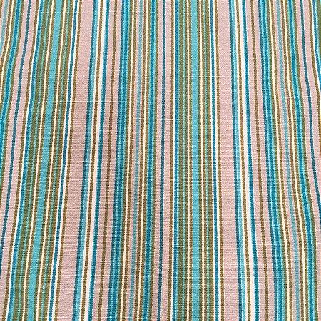 Tecido Linho Impermeabilizado Listrado Cinza Claro, Azul Claro e Verde - Mace 35