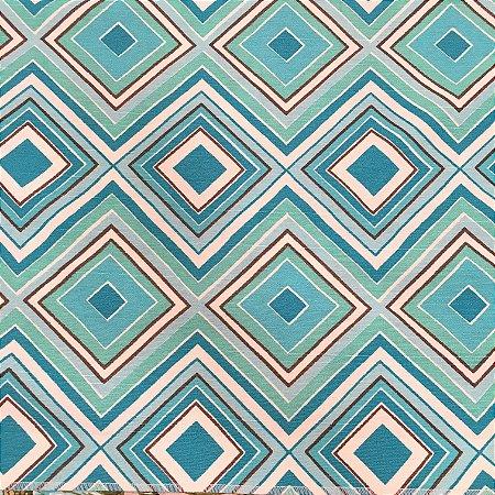 Tecido Linho Impermeabilizado Geométrico Azul Claro, Branco e Marrom - Mace 37