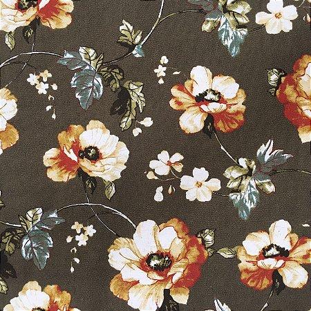 Tecido Linho Impermeabilizado Floral Marrom, Verde e Creme - Mace 21
