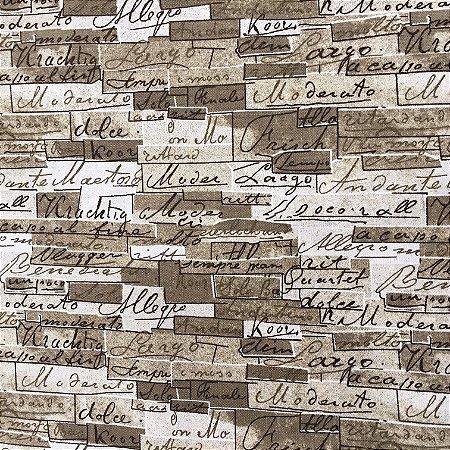 Tecido Linho Impermeabilizado Tijolinho em tons de Fendi com Letras Marrom - Mace 22