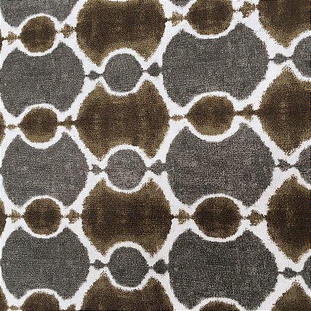 Tecido Linho Impermeabilizado Abstrato Marrom, Cinza e Creme - Mace 23