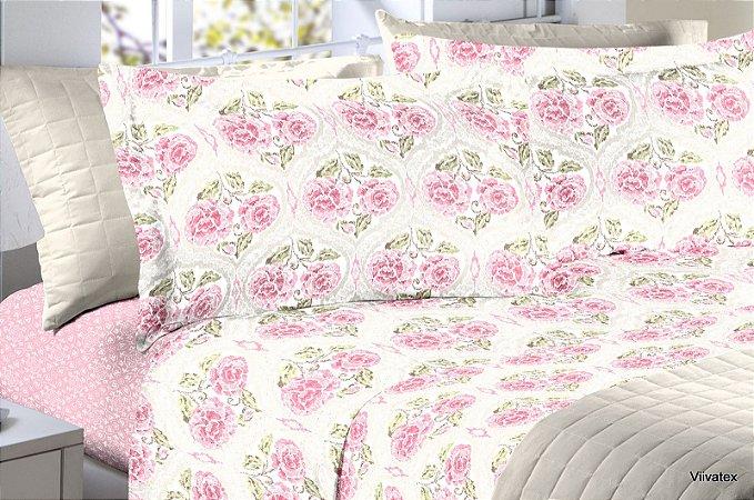 Jogo de Cama 150 fios Floral Branco Creme Rosas Dena - Casal 4 peças Corttex
