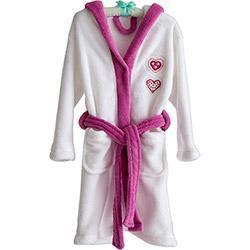 Roupão Infantil Bordado Branco Rosa Cuore - Tamanho P- Corttex