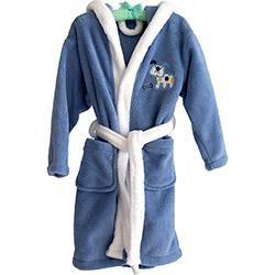 Roupão Infantil Bordado Azul e Branco Lulu - Tamanho M - Corttex
