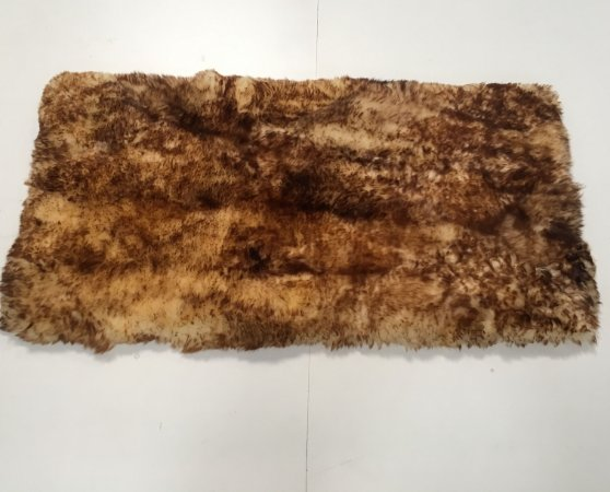 Tapete pele de carneiro legítimo - Muito macio - Cor bege chamuscado - 0,50 x 1,00 metros