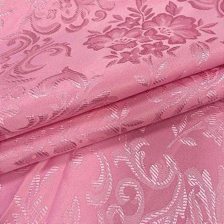 Tecido Jaquard Adamascado Floral com 2,80 mts de largura Rosa Bebe