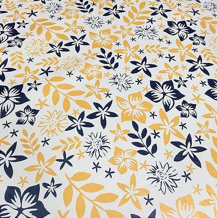 Tecido Corino Floral Branco, Azul e Amarelo