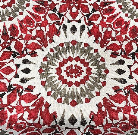 Tecido Linho Flame Mandala Brasão Vermelho, Cinza e Preto