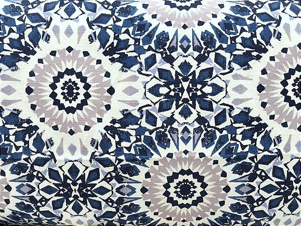 Tecido Linho Flame Mandala Brasão Branco, Azul e Cinza