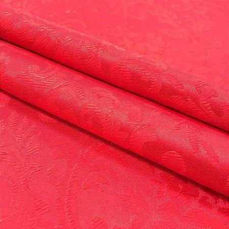Tecido Jaquard Adamascado Floral com 2,80 mts de largura Vermelho