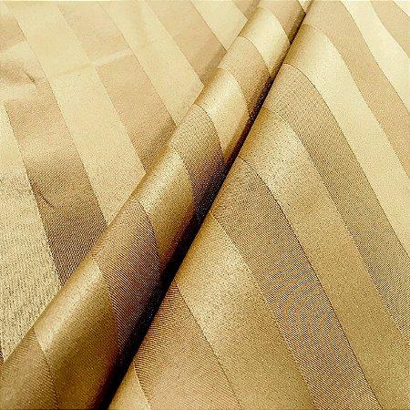 Tecido Jacquard Adamascado Listrado Ouro com 2,80 mts de largura