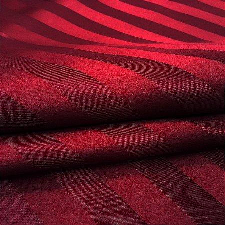Tecido Jacquard Adamascado Listrado Vermelho Bordo com 2,80 mts de largura