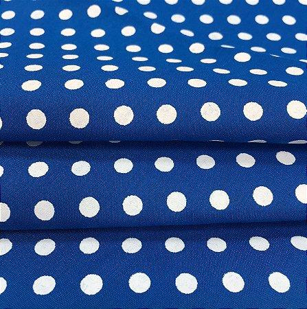 Tecido Tricoline Chita Patchwork Poá Azul e Branco - Gramado 4