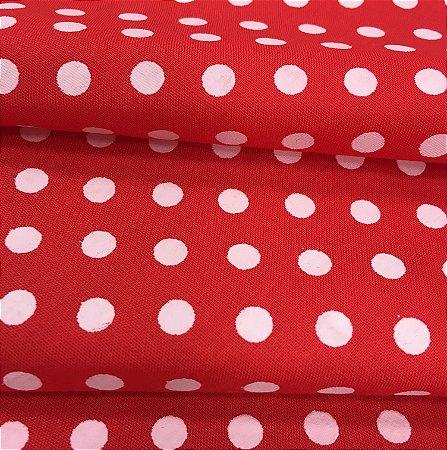 Tecido Tricoline Chita Patchwork Poá Vermelho e Branco - Gramado 6