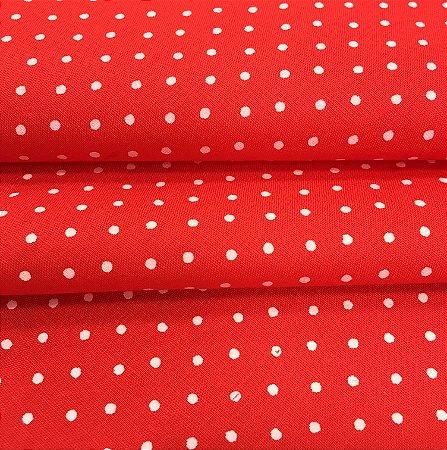 Tecido Tricoline Chita Patchwork Mini Poá Vermelho e Branco - Gramado 14