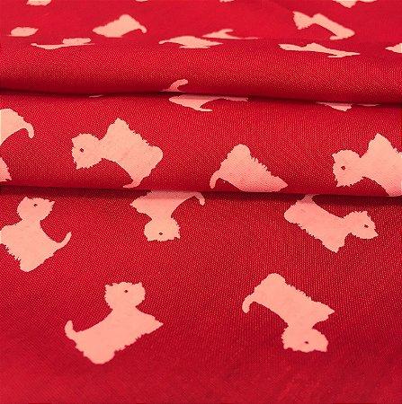 Tecido Tricoline Cachorrinhos Brancos Fundo Vermelho - Gramado 25
