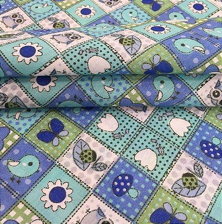 Tecido Tricoline Chita Patchwork Borboletas, Corujas e Pássaros Verde - Gramado 28