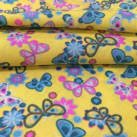 Tecido Tricoline Chita Patchwork Borboletas e Flores Fundo Amarelo - Gramado 33