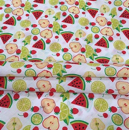 Tecido Tricoline Chita Patchwork Frutas Fundo Creme - Gramado 42