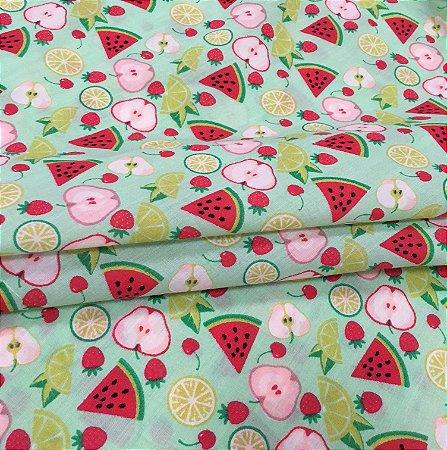 Tecido Tricoline Chita Patchwork Frutas Fundo Verde - Gramado 43
