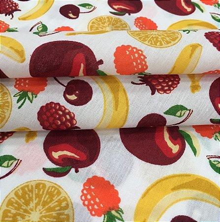 Tecido Tricoline Chita Patchwork Frutas Fundo Branco - Gramado 46