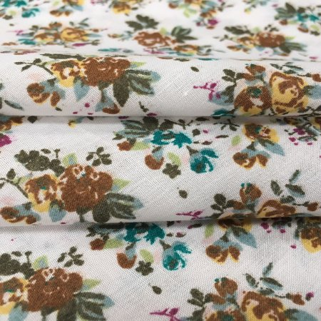 Tecido Tricoline Chita Patchwork Mini Floral Marrom, Lilas e Verde Fundo Creme - Gramado 49