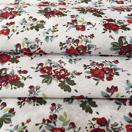 Tecido Tricoline Chita Patchwork Mini Floral Vermelho Bordô Fundo Branco - Gramado 50