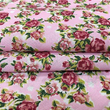 Tecido Tricoline Chita Patchwork Mini Floral Roxo Fundo Rosa - Gramado 51