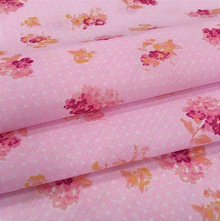 Tecido Tricoline Chita Patchwork Floral Rosa - Gramado 62