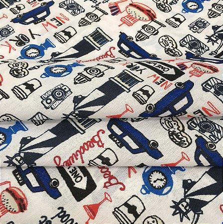 Tecido Tricoline Chita Patchwork Estilo New York Vermelho, Azul e Branco - Gramado 65