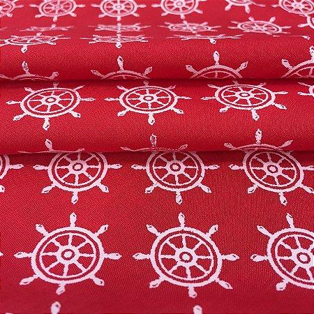 Tecido Tricoline Chita Patchwork Leme Clássico Fundo Vermelho - Gramado 71