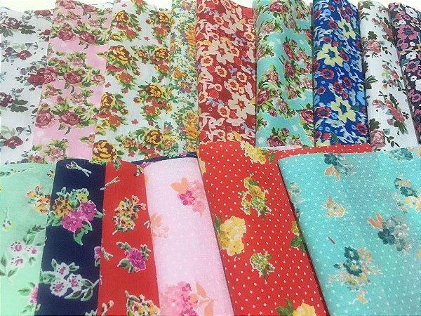Tecido Tricoline Kit com 16 estampas estilo Floral e Mini Flores - Tamanho de 0,50x70 cm cada estampa - Kit 4