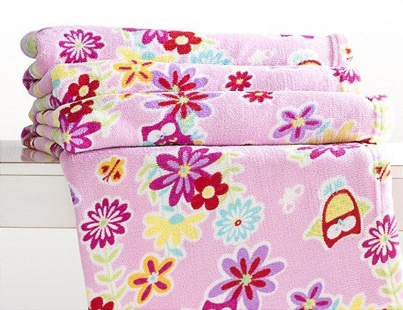Manta Solteiro Microfibra Corttex Home Design 1,50 x 2,00 mts - Flores e Corujas