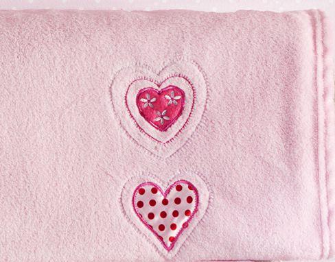 Manta Bebê Bordada Microfibra Corações Rosa 1,00 x 0,70 cm