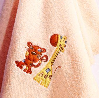 Manta Bebê Bordada Microfibra Salmão com Tigre e Girafa 1,00 x 0,70 cm