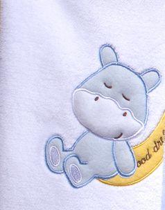 Manta Bebê Bordada Microfibra Branca com Hipopótamo 1,00 x 0,70 cm