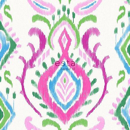 Papel de parede Cabana Brasões Rosa, Azul e Verde - 140-148648