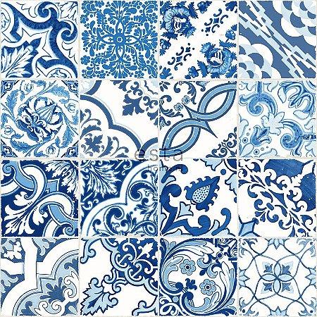 Papel de parede Cabana PatchWork Creme e Azul - 140-148636