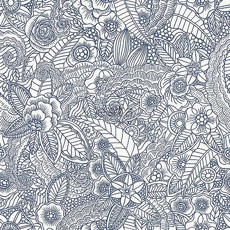 Papel de parede Cabana Floral Creme e Azul - 140-148615