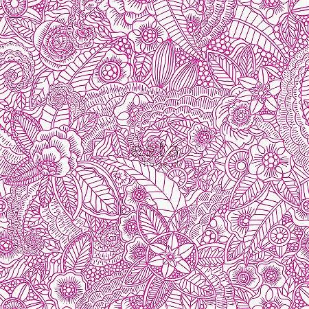 Papel de parede Cabana Floral Creme e Rosa - 140-148614