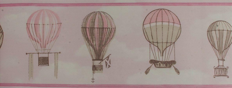 Papel de parede Ola Baby Faixinha Rosa Claro com Balões e Nuvens Brancas FA-39002B