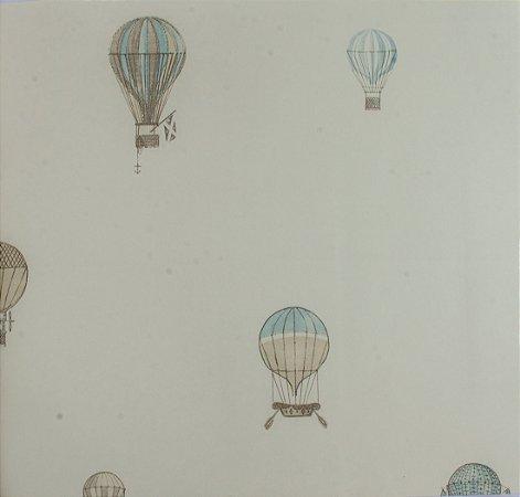Papel de parede Ola Baby Branco Liso com Balões Azuis e Bege FA-39003