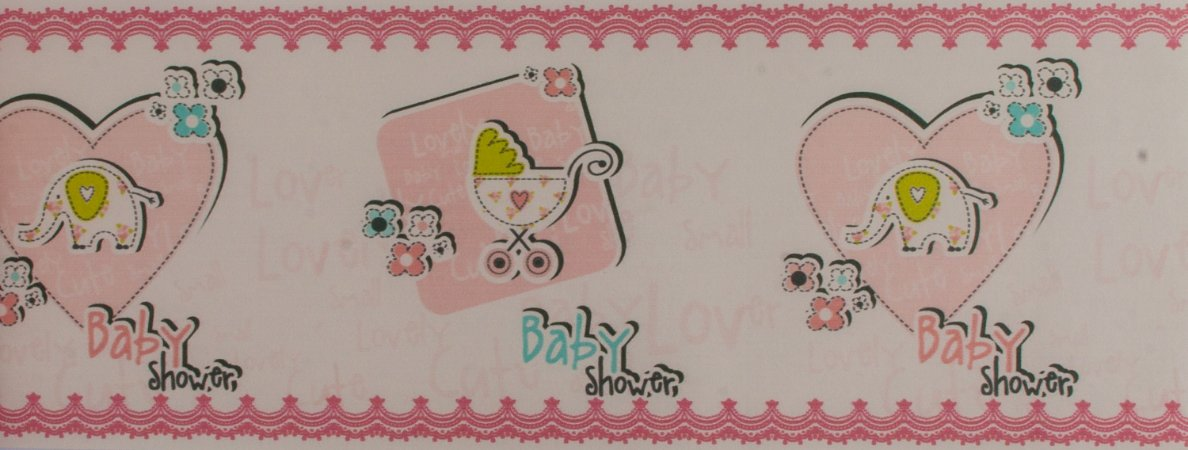 Papel de parede Ola Baby Faixinha Branca com Corações e Elefantinhos FA-38804B