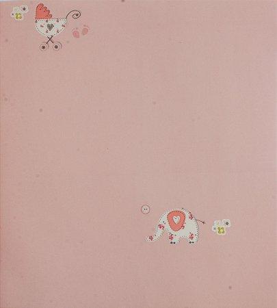 Papel de parede Ola Baby Rosa com Elefantes e Carrinhos de Bebê FA-38804
