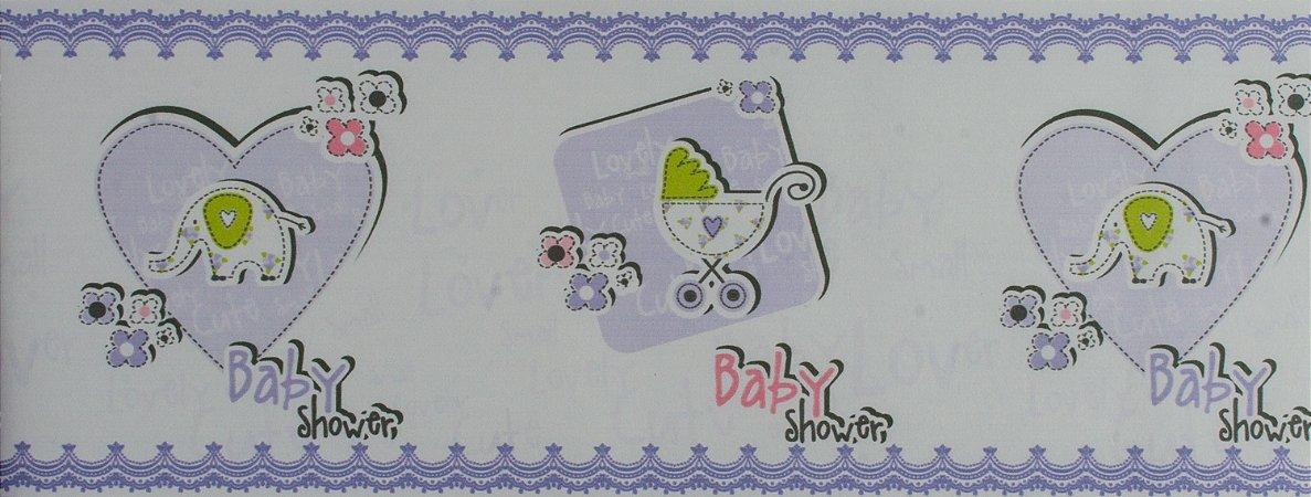 Papel de parede Ola Baby Faixinha Azul Claro e Lilás com Corações e Elefantinhos FA-38803B