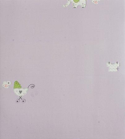 Papel de parede Ola Baby Lilás com Elefantes e Carrinhos de Bebê FA-38803