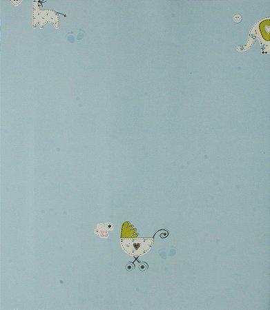 Papel de parede Ola Baby Azul Bebê com Elefantes e Carrinhos de Bebê FA-38802