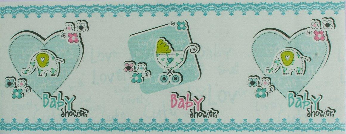Papel de parede Ola Baby Faixinha Azul Claro com Corações e Elefantinhos FA-38801B