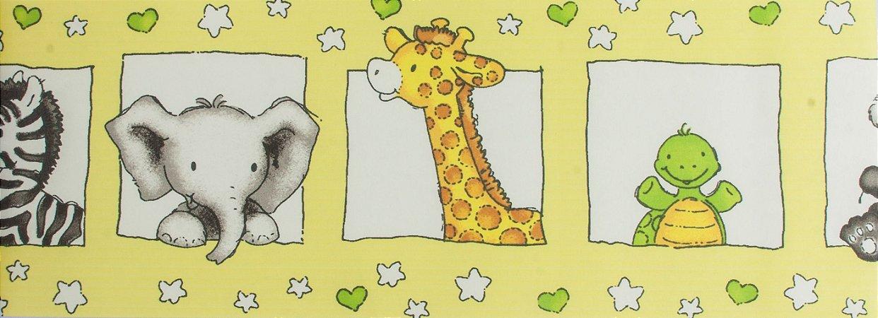 Papel de parede Ola Baby Faixinha Amarela com Animais FA-83703B